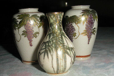 TRIO OLD Miniature Satsuma Japanese Pottery Vases Wisteria BAMBOO VASES, SIGNED