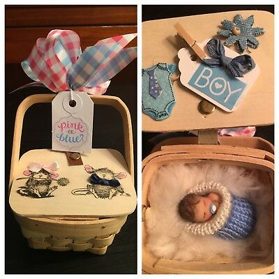 """Boy Gender Reveal """"Basket Baby"""" OOAK Party Announcement Baby Shower Polymer Clay"""