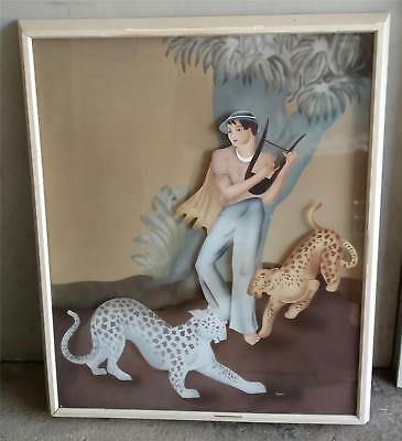 A Large Art Deco Reverse Painted Two Dimensional Pc. Lady W/2 Leopards Framed Or