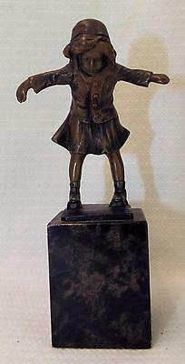 Antique ART DECO Bronze Sculpture Of Girl On Marble Base by B Grundmann Germany