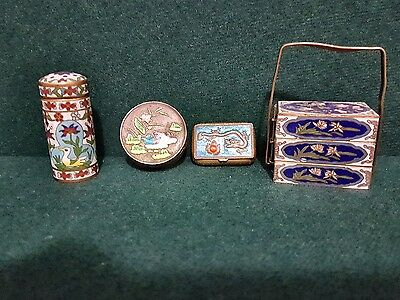 vintage handmade Chinese enamel and brass dragon,birds trinkets boxes