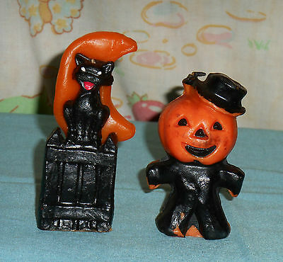 vintage Halloween GURLEY CANDLE LOT OF 2 cat/fence/moon & scarecrow pumpkin man