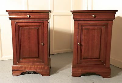 A pair of French Cherry Wood Bedside Cupboards or Night Tables