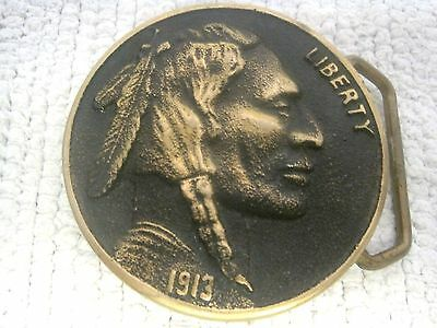 """1976 Heritage Mint 1913 Indian Head Coin Solid Brass Belt Buckle 2 1/4"""""""