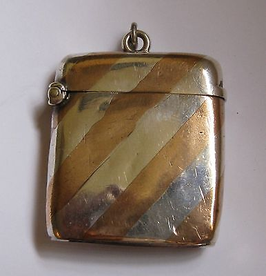 Antique Two Tone Silver Vesta With Albert Chain Attachment Ring