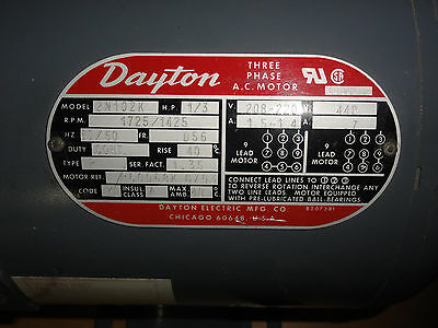Dayton Industrial Motor 2N102K 1/3 Hp 1725 Rpm 3 Phase New Old Stock