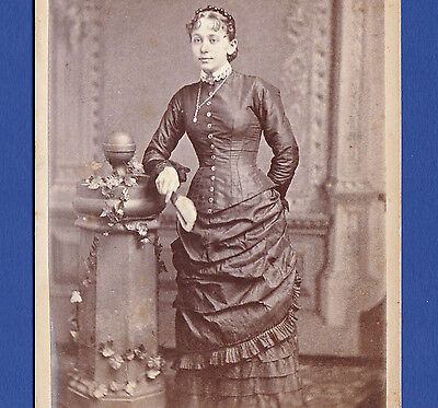 Vintage Photo (c.1870s-1880s) - Young Woman in Dress with Overskirt, Holding Fan