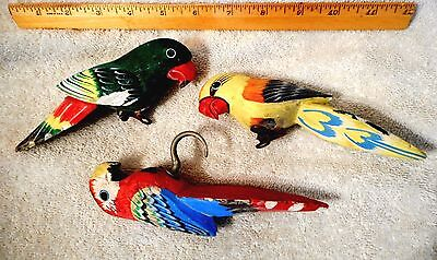 "Vtg 2 Wood Bird Clip-on Christmas Tree Ornament and 1 Parrot hanging Hook 6"" #C"