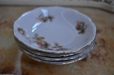 4pc Saucers Mitterteich Bavaria Vintage Germany orange flowers only $26