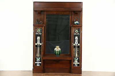 Arts & Crafts Mission Oak Antique Hall Mirror, Leaded Glass, Petersen Chicago