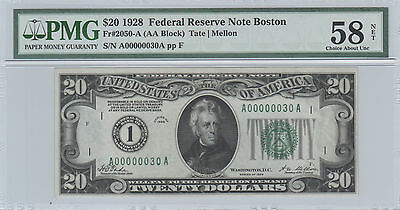 """1928 $20 Federal Reserve Note """"2 Digit"""" Serial Number A00000030A Pmg58!!!"""