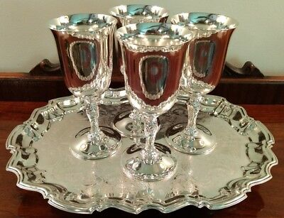 "International Wm Rogers Silverplate Wine Goblets 6.75"" Lot of 4 + Leonard Tray"