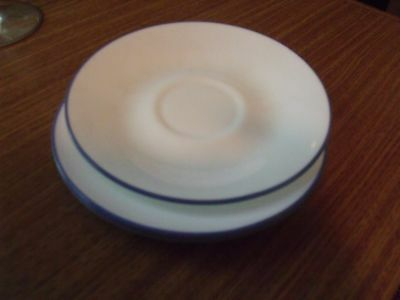 4 Corelle Corning Coffee Cup Saucers White with Blue Trim Matches Many Patterns