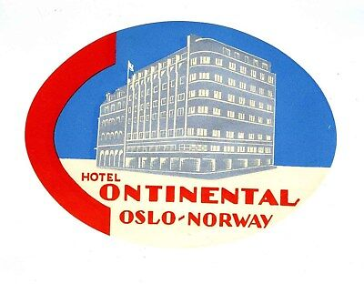 Hotel Continental Luggage Label Oslo Norway