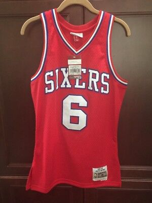 e4187ca6d9e  6 Julius Erving Philadelphia 76ers Red Stitched Throwback Jersey Men s  Small