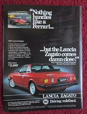 1981 Print Ad Lancia Zagato Sports Car Automobile ~ Almost Handles Like Ferrari