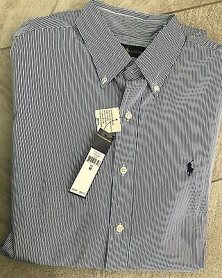 Polo Ralph Lauren Shirt Classic Fit Woven Button Down Men's M Blue Striped