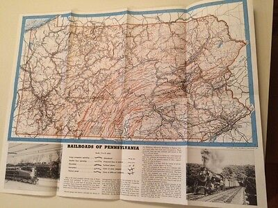 Vintage Trains Railroad Map of Pennsylvania 1942  Kalmbach Publishers Litho