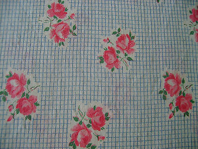 Vintage Feedsack Feed Flour Sack Pink Roses with Tiny Blue Rimmed Squares
