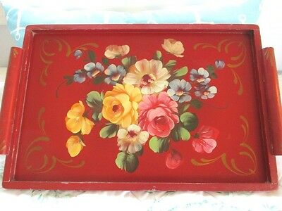 Hand Painted Antique Rose Floral Red Wood Tole Display Designer Serving Tray