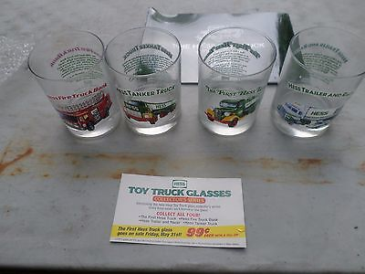 Vintage 1996 4 Piece Hess Truck Glass Set PLUS COLLECTABLE 40TH ANNIVERARY BOOK