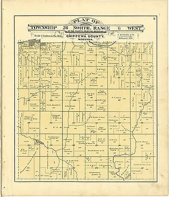 CHIPPEWA COUNTY WISCONSIN 1888 atlas maps plat old GENEALOGY history DVD P77