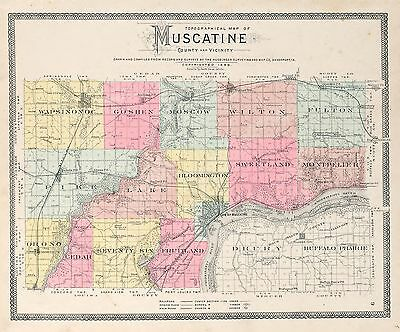 c1899 MUSCATINE COUNTY plat map IOWA family GENEALOGY history Atlas Land P104