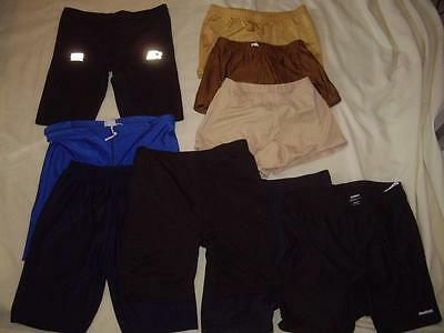 Lot of 9 Shiny Spandex Shorts Assorted Colors & Lengths Size Medium Gym Running