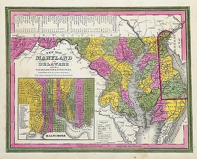 MARYLAND 155 antique map STATE history old GENEALOGY road