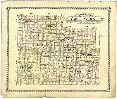 1908 CEDAR COUNTY plat maps old GENEALOGY history Missouri LAND OWNER DVD P127