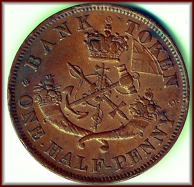 1854 Canadian Bank Token RARE RED & BROWN UNCIRCULATED   BUY PRICE $125