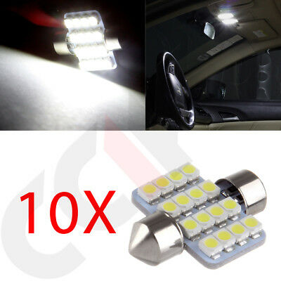 10x Super White 16SMD LED Map/Dome Interior Light Bulbs 31MM Festoon DE3175 3022