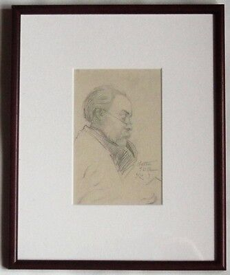 Original pencil portrait of T W Camm, by Florence Camm, c1900 signed, framed