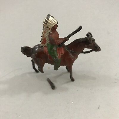 Antique Cherilea Toy Soldier, American Indian On Horse