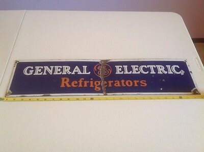 "VINTAGE GE GENERAL ELECTRIC PORCELAIN SIGN 26"" (damaged/see condition)"