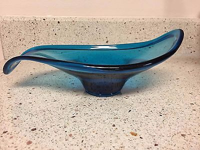 Retro Blue Mid-Century Modern Glass Stretch Bowl/Dish By Viking (?)