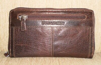 Jack Georges Spikes & Sparrow Leather Large Zip-Around Clutch Wallet in Brown