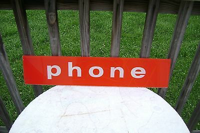 Vintage Payphone Booth Glass Sign 22 1/4 X 4 3/4 Nice Original Wow