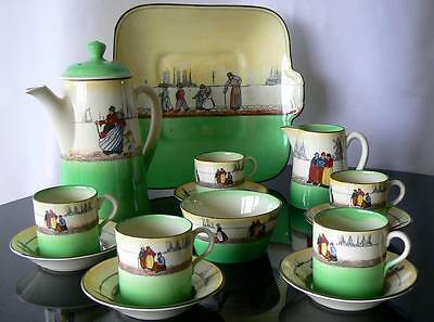 Royal Doulton green Dutch Harlem Series Ware 14pc antique coffee set early 20thC