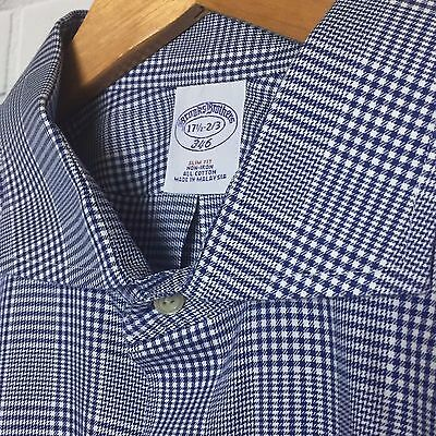 Brooks Brothers Non-Iron Blue Plaid Long Sleeve Button Down Shirt 17 1/2 32/33