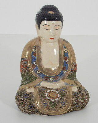 Hand painted  Antique Chinese Asian Cloisonne Enamel Gilt Seat Buddha Statue
