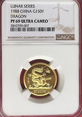 China 1988 150Y Lunar Dragon gold coin NGC PF69 NC