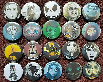 Tim Burton Characters Button Badges x 20. Halloween. Pins. Collector. Wholesale.