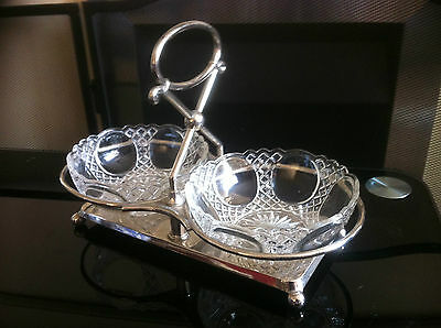 Vintage Pair Pressed Glass Dishes on silver / chrome Plated Ball Feet Stand