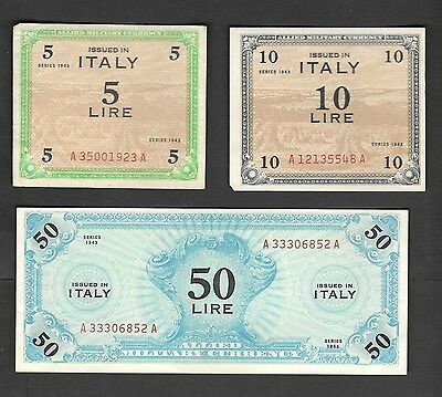 Italy 50 ,10 & 5 Lire 1943 Allied Military Currency Circulated Banknotes