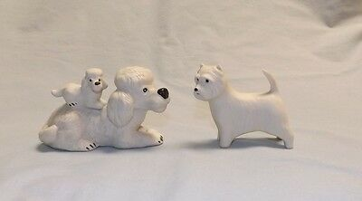 Vintage ceramic porcelain dog figurine pair bisque white poodle with pup Westie