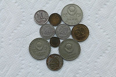 Russia(and Soviet Union) Coins, 1K/2K/20K/1R and 10R/20R/50R 1936-1993 (10 total