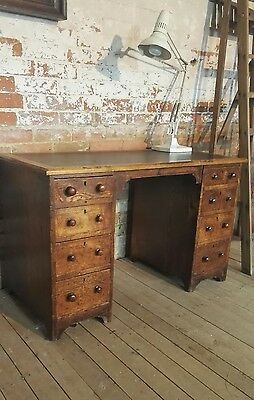Fabulous Rustic Vintage Industrial Office Warehouse Mid Century Pedestal Desk