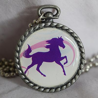 Breyer Purple and Pink Cantering Pony Horse ~ Necklace Pendant Jewelry