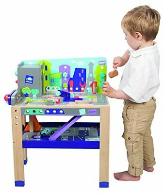 Wooden 2-in-1 Workbench Build & Drive Playset Baby Building Stacking Toys, New